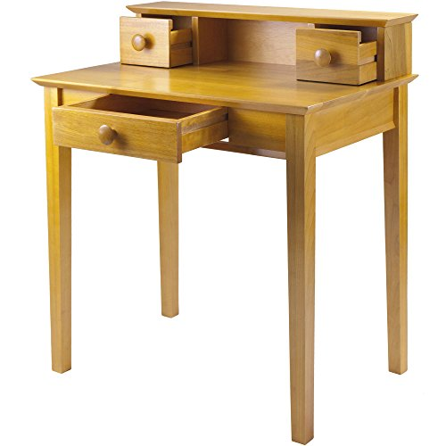 Honey Pine Desks - 3-Drawer Home Office Hutch Desk with Open Storage, Solid Wood Construction, Honey Pine Finish + Expert Guide