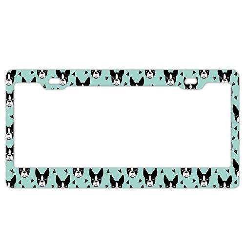 EXMENI Boston Terrier Mint License Plate Frame Theft-Proof Frames Stainless Steel Board Frames