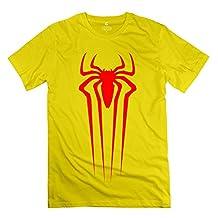 Yisw Men's Spiderman Red Logo T-Shirt XXL Yellow Short Sleeve Custom Apparel