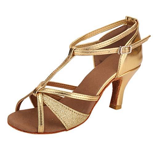 Detail T-strap Sandals - HENWERD Fashion Waltz Modern Dance Shoe for Women Ballroom Latin Soft Bottom Dance Sandals (Gold,7.5 US)