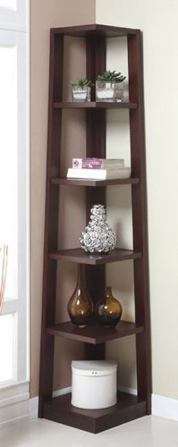 Walnut Finish Wood Wall Corner 5 Tiers Shelves Bookshelf Case Part 55