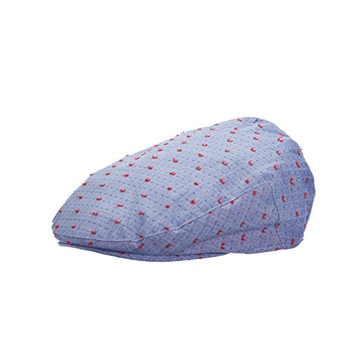 STACY ADAMS Casual SPOT Embroidered Cotton Lined Fancy Ivy Cap (SA627) (Large, Blue)