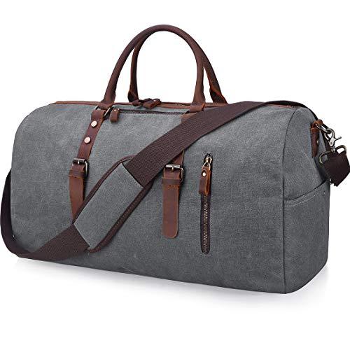 Travel Duffel Bag Large Canvas Duffle Bag for Men Women Leather Weekender Overnight Bag Carryon Weekend Bag Grey ()