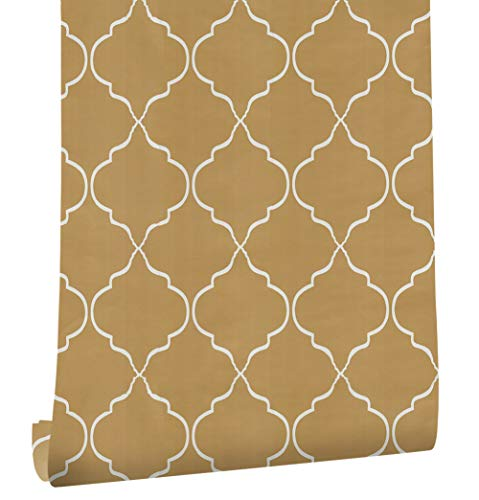 "HaokHome 633151 Modern Vinyl Trellis Self Adhesive Wallpaper Rolls Yellow/Orange/White Living Room Wall Murals Paper Home 17.7""x 19.7ft Prepasted Contact Paper"