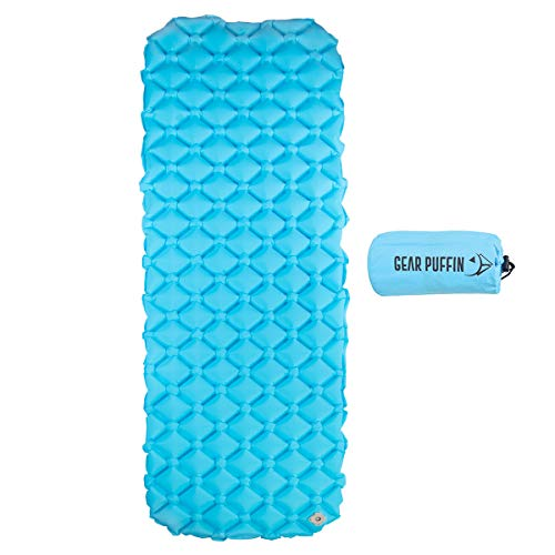 Gear Puffin Inflatable Sleeping Pad - Ultralight Compact Hiking Camping Backpacking Hammocks - Air Cells Provide Support Stability - Blue