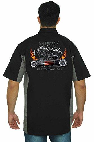 Hot Rod Mens Button Front (SHORE TRENDZ Men's Mechanic Work Shirt Shifter's Hot Rod Kustom Black/Grey (XL))