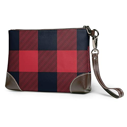 Red Black Plaid Leather...