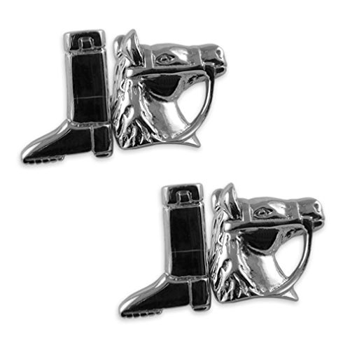 Sterling Tie riding Cufflinks Box Set silver Clip boot amp; horse awqpBaUR