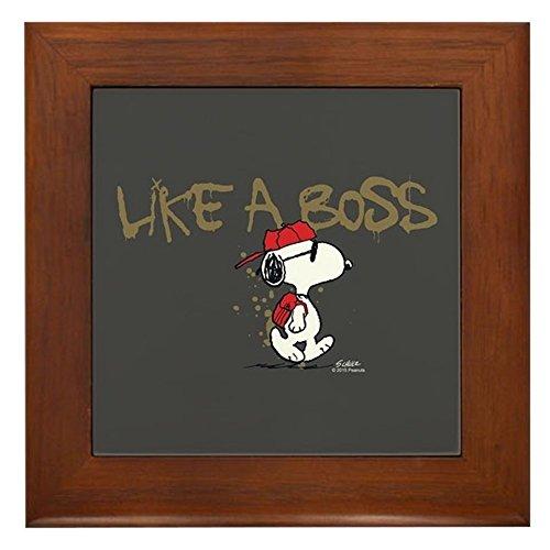 CafePress - Peanuts Snoopy Like A Boss - Framed Tile, Decorative Tile Wall...
