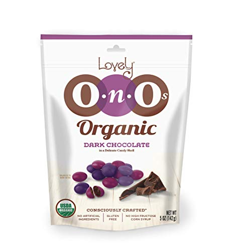 Organic Dark Chocolate Gem OnOs - Lovely Candy Co. 5oz Bag - NON-GMO, NO HFCS, Kosher & Gluten-Free   Consciously crafted in the USA!