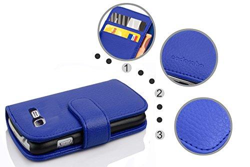 Cadorabo - Funda Samsung Galaxy TREND LITE (S7390) Book Style de Cuero Sintético en Diseño Libro - Etui Case Cover Carcasa Caja Protección con Tarjetero en MARRÓN-COGNAC KÖNIGS-BLAU