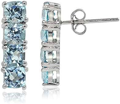 Sterling Silver Choice of Gemstone Bar Drop Earrings