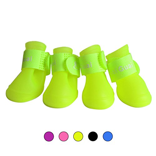 164fd3c1a175e Pet Dog Rain Boots Antiskid Waterproof Snow Shoes for Little Pet Dog Candy  Colors Dog Wellies