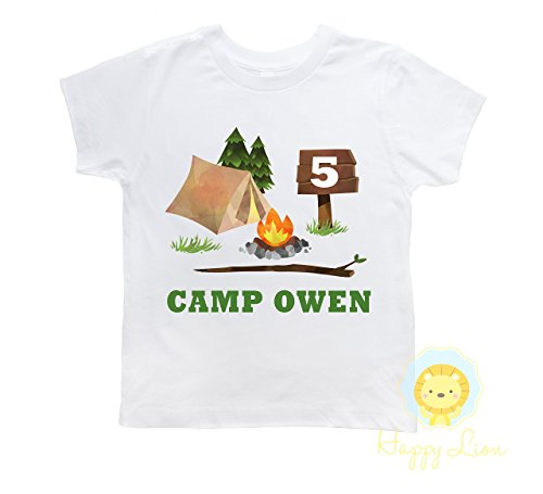 Happy Lion Clothing - Personalized Camping birthday shirt for boys, custom camping shirt, camp birthday outfit Camp Outfit