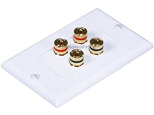 Monoprice Banana Binding Post Two-Piece Inset Wall Plate for 2 Speakers - Coupler Type (3 Pack) ()