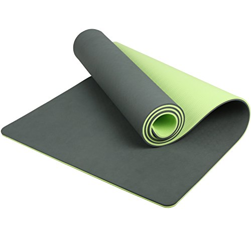 LHOTSEX 6mm 1/4-Inch Non Toxic Yoga Mat with Strap,  Dark Green