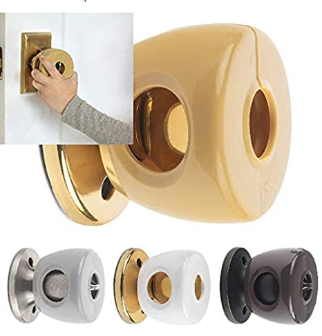 Bronze Door Knob Safety Cover - Choose 1 of 4 Colors Available - Beautifully Designed To Blend With Doorknob Color - 4 Pack (All Brown) - Child Proof Doors - Toddler and Baby Safety - By UnaBaby