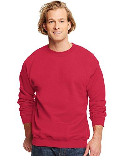 Hanes Men's Ultimate Cotton Fleece Crew Sweater, Deep Red, S US