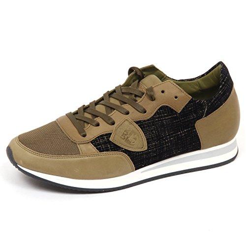 velvet Sneaker E4660 Model nero Tropez Verde Green Philippe Shoe Leather black Uomo Man 8F4w1W