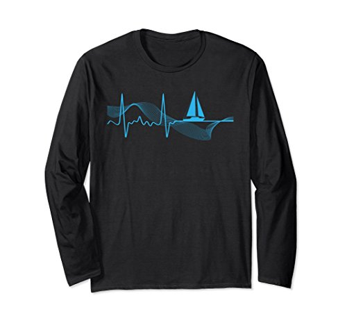 Unisex Sailing Heartbeat Love Ocean Long Sleeve Sailing Fun T-Shirt XL: Black