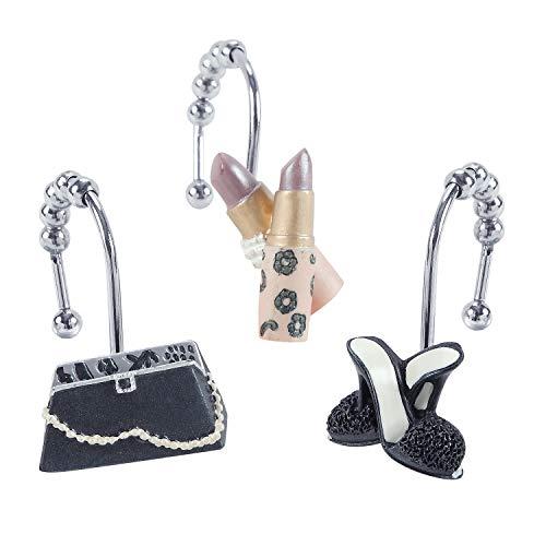 DS BATH Haute Shower Curtain Hooks,Fashion Bathroom Curtain Hooks,Decorative Hooks for Shower Curtains,Set of 12