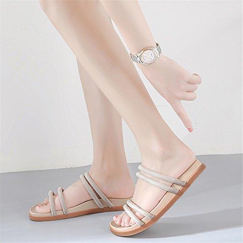 Sandalias Fondo Zapatos Vestido Zapatos y para la Academia de PU Inferior de Noche Señoras Verano Piso de Un Grueso Diario Mujer de Nueva Z0xqHzZ