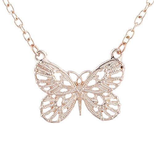 (Lux Accessories Rose Gold Tone Boho Butterfly Charm Pendant Necklace)