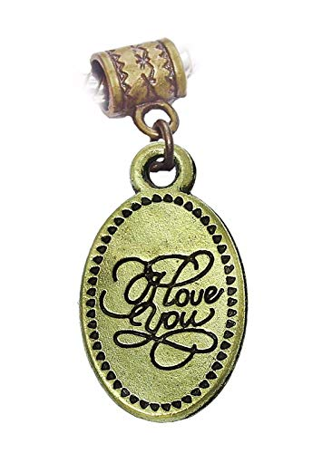 I Love You Cursive Words Oval Bronze Dangle Charm for European Bead Bracelets Crafting Key Chain Bracelet Necklace Jewelry Accessories Pendants