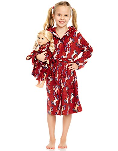 Leveret Unicorn Matching Doll & Girl Hooded Robe 8 Years