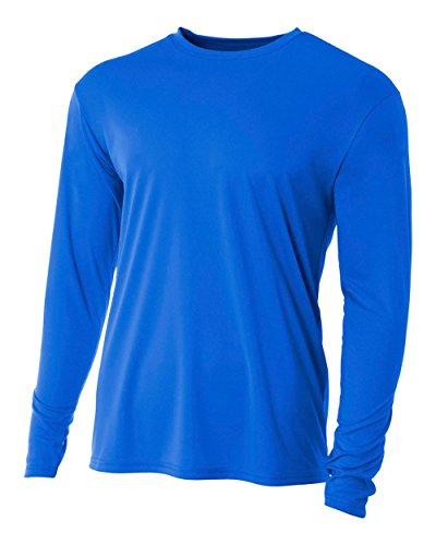 A4 Men's Cooling Performance Crew Long Sleeve T-Shirt, Royal, XX-Large