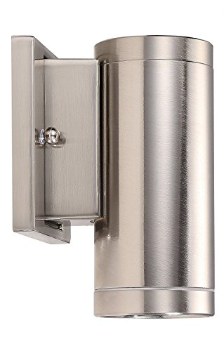 Nickel Brush Mount Wall - Cloudy Bay Outdoor Wall Mount Porch Light,Modern LED Exterior Light Fixtures,8W 5000K Day Light,Brushed Nickel