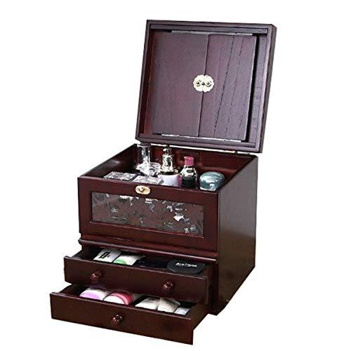 Kth 化粧箱、ミラー付きヴィンテージ木製化粧品ケースの3層、ハイエンドの結婚祝い、新築祝いのギフト、美容ネイルジュエリー収納ボックス B07Q81SLQF