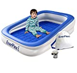 EnerPlex Kids Inflatable Toddler Travel Bed with High Speed Pump, Portable Air Mattress for Kids, Blow up Mattress with Sides - Built-in Safety Bumper - Blue 2-Year Warranty