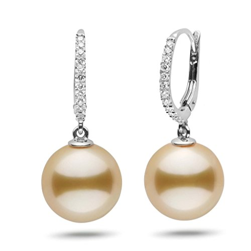 Eternal Collection Golden South Sea 12.0-13.0 mm Cultured Pearl & Diamond Dangle Earrings 14K White Gold - Diamonds 13mm South Sea Pearl