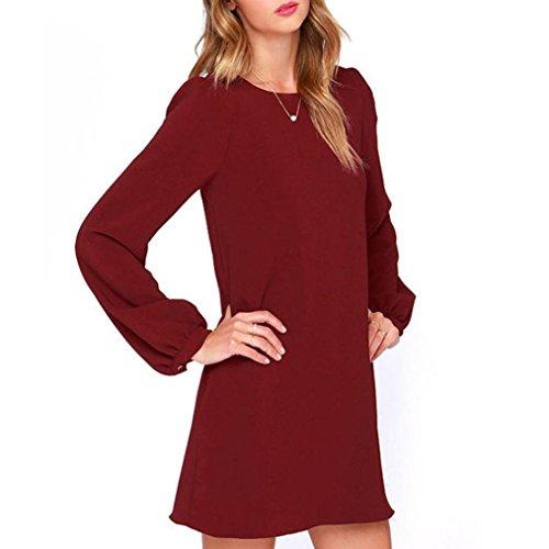 Malloom® Frauen Arbeits Abnutzungs Kleid beiläufiges langes Hülsen ...
