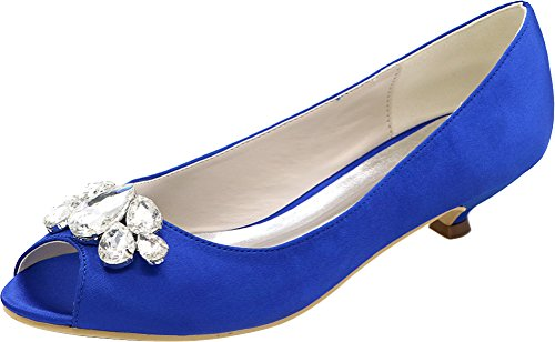 Comfort Blue Satin Peep Wedding EU Ladies Prom Kitten Fashion 0700 Smart Sandals Party Dress Bride 37 Heel Work 10 Toe Bridesmaid Rhinestone CxBqw6BH