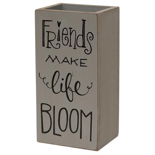Heart of America Friends Make Life Bloom Wood Vase