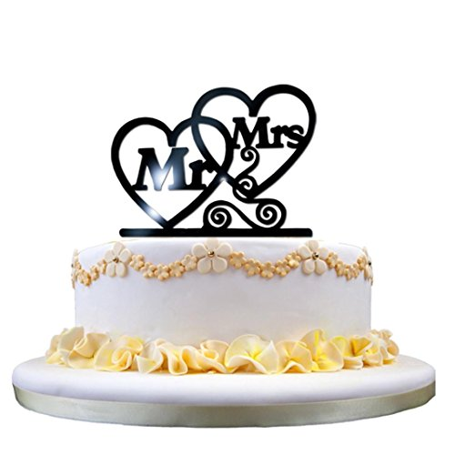 Acrylic Cake Decoration, Leewa Acrylic Wedding Cake Topper Love Groom And Bride (A, 16x16x0.2 cm)