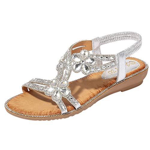 (Meigeanfang Womens Boho Crystal Flower Flat Sandals Beach Casual Shoes(Silver,38))