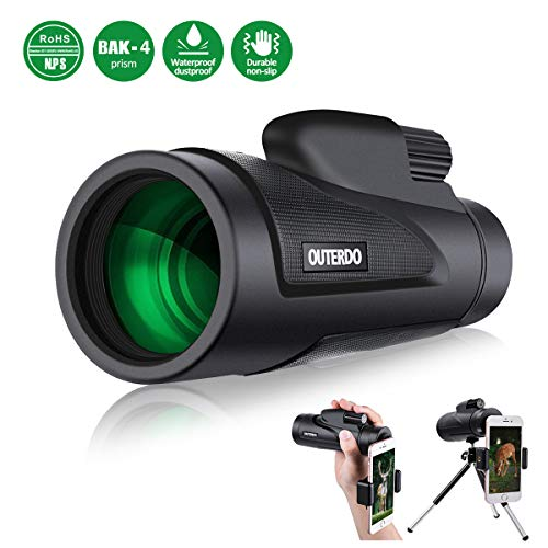 Monocular Telescope, OUTERDO New 12x50 High Power Dual Focus BAK-4 Prism FMC Waterproof Monoculars with Cellphone Adapter and Durable Tripod for Bird Watching, Hunting, Camping, Hiking, Outdoor