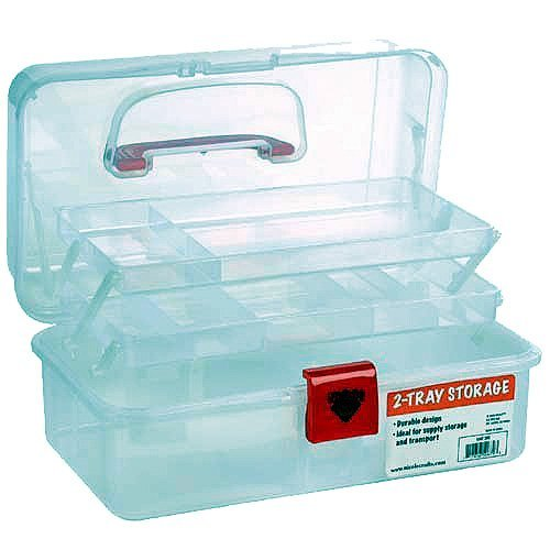 Artist Essential 12-inch Plastic Art Supply Craft Storage Tool Box, Semi-clear Plastic with Two Trays by NicoleCrafts