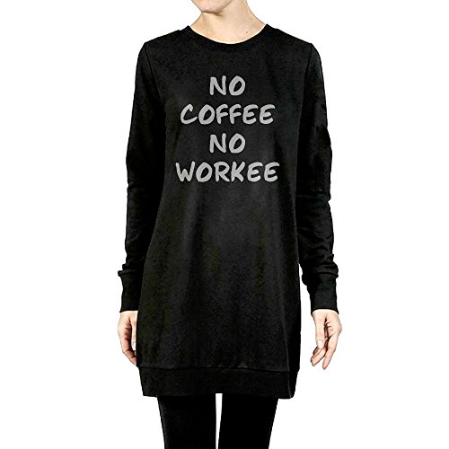 Price comparison product image Beauty&Fashions No Coffee No Work Lady Cotton Fleeces Soft Long-Sleeves Sweatshirt surcoat