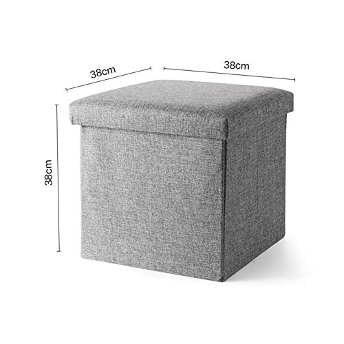 Zzaini Folding Storage Ottoman Linen Footstool Cube Large Capacity Bench Coffee Table seat Clutter Toys Collection Multifunction Footrest Stool-Gray 38x38x38cm