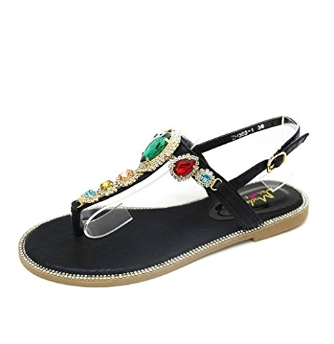 JUWOJIA Diamond Sandals Women's Summer Flat Shoes Seaside Resort Bohemia Color Drill Students' Foot Sandals. silvery