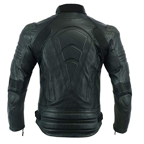 Men,s MOTORCYCLE ARMOURED PERFORATED LEATHER [NATURAL GRAIN] WITH EXTERNAL ARMOURS BLACK JACKET MBJ-1728A (L) (Best Quality Motorcycle Jackets)
