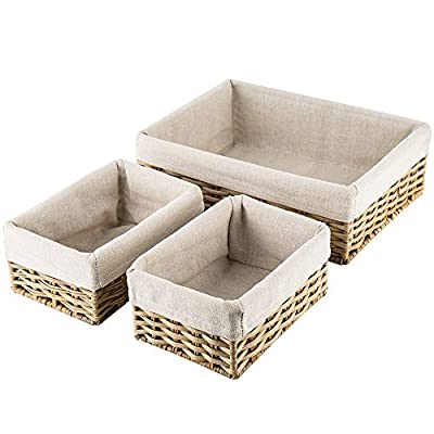 HOSROOME Handmade Wicker Storage Baskets Set Shelf Baskets Woven Decorative Home Storage Bins Decorative Baskets Organizing Baskets Nesting Baskets(Set of 3,Beige) - 1.Environmental protection storage basket:This woven basket is made by plastic imitation rattan weave.No paint, 0 formaldehyde.This material feels smooth and comfortable.It will not produce any toxic and harmful gases after high temperature combustion, it can be recycled 100%, and it can be biodegraded. 2.Sturdy storage containers:This Storage Basket is suitable for any environment.Because of its strong material, anti-oxidation, waterproof and insect proof.So it can be used easily for a long time. 3. Multiple-use Home Storage Bins:Great for cosmetics, books ,toys, coins ,album, underwear, baby clothes and other small sundries. utility and suitable for your bedrooms,bathrooms, living room, closets, shelves or anywhere in the house. - living-room-decor, living-room, baskets-storage - 416H0yk5itL. SS400  -