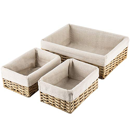 Hosroome Handmade Wicker Storage Baskets Set Shelf Baskets Woven Decorative Home Storage Bins Decorative Baskets Organizing Baskets Nesting Baskets(Set of -