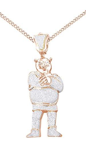 White Cubic Zirconia Men's Hip Hop Shrek Pendant In 14K Rose Gold Over Sterling Silver by AFFY
