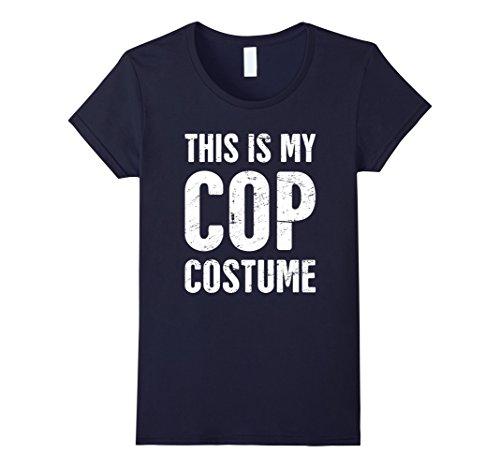 Womens Funny Halloween Cop Costume T-Shirt XL