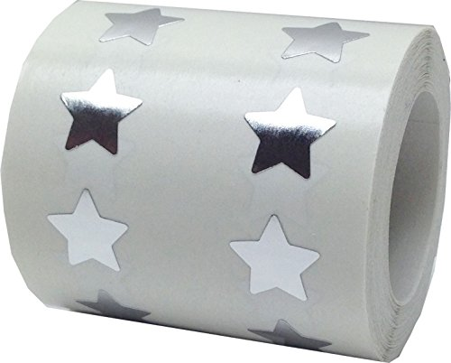 Metallic Silver Star Stickers, 1/2 Inch Wide, 1000 Labels on a Roll